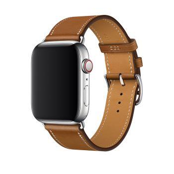 Кожаный ремешок Hermès Fauve Barenia Leather Single Tour для Apple Watch 42 - 44 мм коричневый