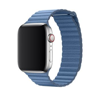 Кожаный ремешок Apple Leather Loop Cornflower для Apple Watch 42 - 44 мм голубой