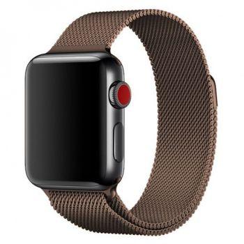 Металлический плетёный ремешок Apple Gold Red Milanese Loop для Apple Watch 42 - 44mm красное золото