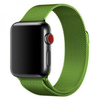 Металлический плетёный ремешок Apple Green Milanese Loop для Apple Watch 42 - 44mm зеленый