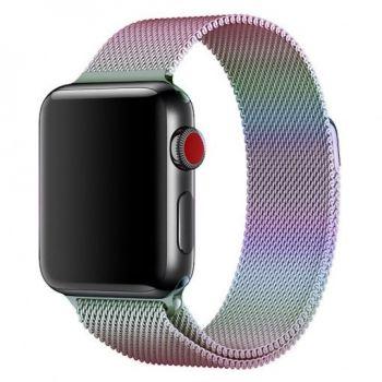Металлический плетёный ремешок Apple Rainbow Milanese Loop для Apple Watch 42 - 44mm радуга