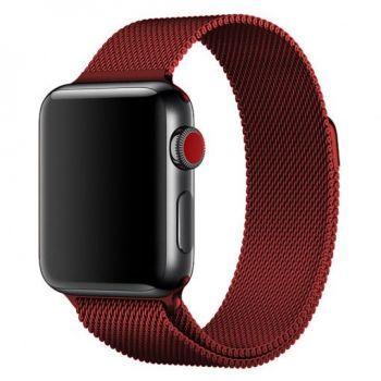 Металлический плетёный ремешок Apple Red Milanese Loop для Apple Watch 42 - 44mm красный