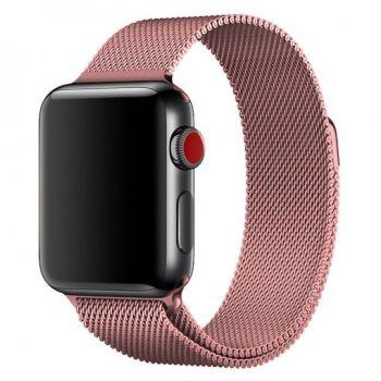 Металлический плетёный ремешок Apple Rose Gold Milanese Loop для Apple Watch 42 - 44mm розовое золото