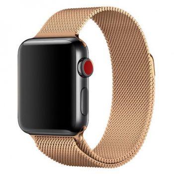 Металлический плетёный ремешок Apple Rose Powder Milanese Loop для Apple Watch 42 - 44mm розовая пыль