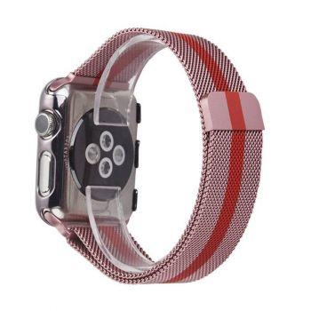 Металлический плетёный ремешок Apple Rose Red Striped Milanese Loop для Apple Watch 42 - 44mm розовый с красным