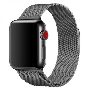 Металлический плетёный ремешок Apple Space Gray Milanese Loop для Apple Watch 42 - 44mm темно-серый