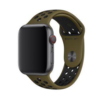 Силиконовый ремешок Nike Sport Band Olive Flak / Black 42 - 44 мм