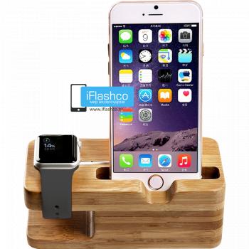 Подставка-держатель для часов Apple Watch и iPhone цвет дерево