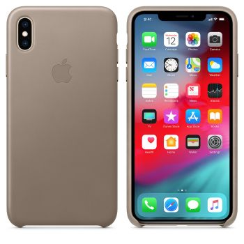 Чехол Apple Leather Case Taupe для iPhone XS Max