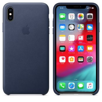 Чехол Apple Leather Case Midnight Blue для iPhone XS Max