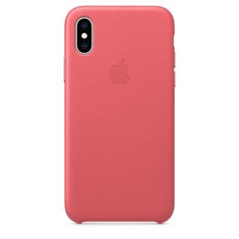 Чехол Apple Leather Case Peony Pink для iPhone X/Xs