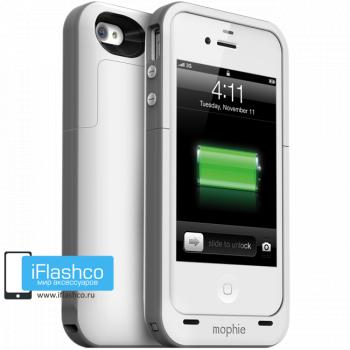 Чехол-аккумулятор Mophie Juice Pack Plus для iPhone 4 / 4S белый