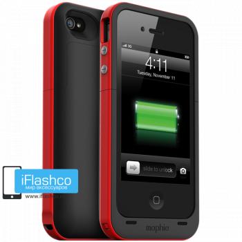 Чехол-аккумулятор Mophie Juice Pack Plus для iPhone 4 / 4S черный с красным