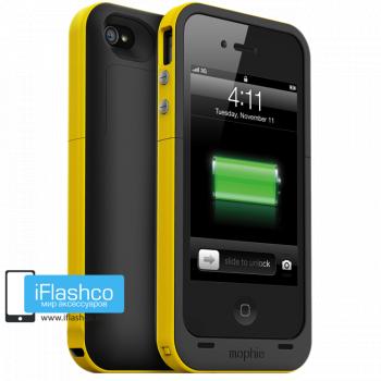 Чехол-аккумулятор Mophie Juice Pack Plus для iPhone 4 / 4S черный с желтым