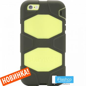 Чехол Griffin Survivor для iPhone 7/8/SE черный с салатовым