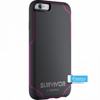 Чехол Griffin Survivor Strong для iPhone 6 серый с розовым