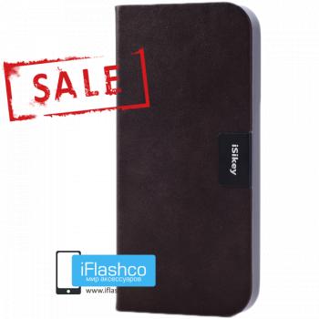 Чехол-книжка iSikey для iPhone 5 / 5S / SE темно-коричневая