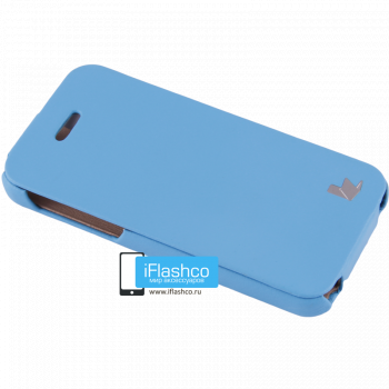 Чехол-книжка Jisoncase Fashion Flip для iPhone 5C голубая