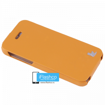 Чехол-книжка Jisoncase Fashion Flip для iPhone 5C оранжевая