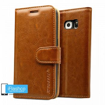 Чехол-книжка Jisoncase Fashion Folio Case для Samsung Galaxy S7 Edge коричневый