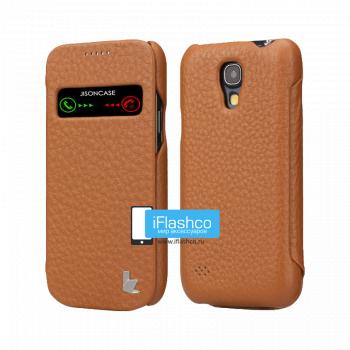 Чехол-книжка Jisoncase Genuine Leather Case для Samsung Galaxy S4 mini коричневая