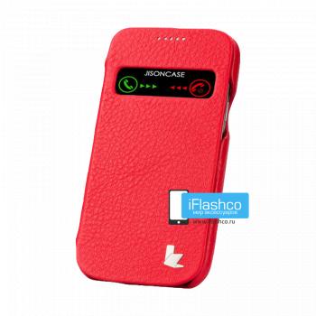 Чехол-книжка Jisoncase Genuine Leather Case для Samsung Galaxy S4 mini красная