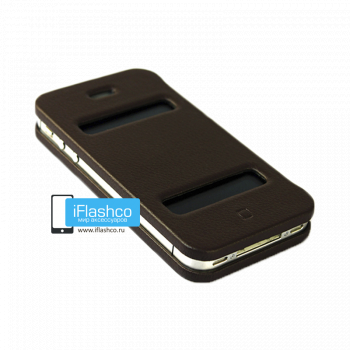 Чехол-книжка Jisoncase Magic Case для iPhone 4 / 4S коричневая