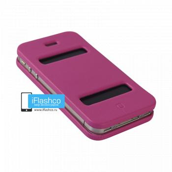 Чехол-книжка Jisoncase Magic Case для iPhone 4 / 4S малиновая