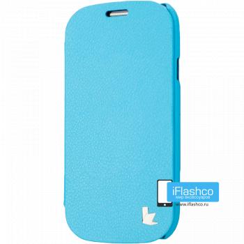 Чехол-книжка Jisoncase Microfiber Folio Case для Samsung Galaxy S3 голубая