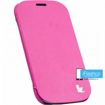 Чехол-книжка Jisoncase Microfiber Folio Case для Samsung Galaxy S3 розовая
