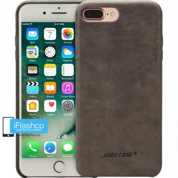 Чехол кожаный Jisoncase Genuine Leather Fit для iPhone 7 Plus / 8 Plus серый