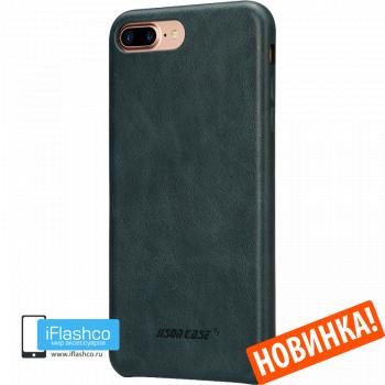 Чехол кожаный Jisoncase Genuine Leather Fit для iPhone 7 Plus / 8 Plus синий