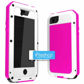 Чехол Lunatik Taktik Extreme iPhone 5 / 5S / SE белый с розовым