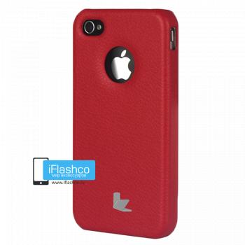 Чехол-накладка Jisoncase Slim Fit для iPhone 4 / 4S красная