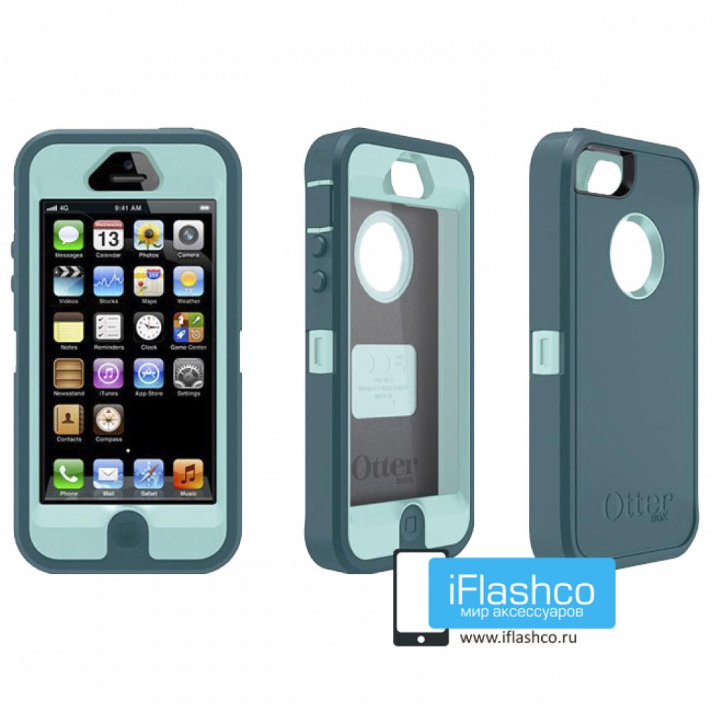 best service a72ed 0a26c Чехол OtterBox Defender iPhone 5 голубой