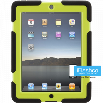 Чехол противоударный Griffin Survivor для iPad 2 / New / 4 черный с салатовым