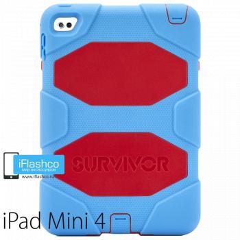 Чехол противоударный Griffin Survivor для iPad mini 4 / 5 голубой с красным