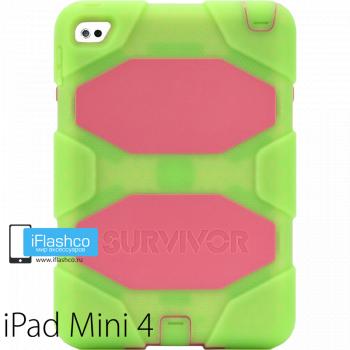 Чехол противоударный Griffin Survivor для iPad mini 4 / 5 зеленый с розовым