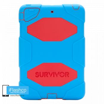 Чехол противоударный Griffin Survivor для iPad mini 1 / 2 / 3 голубой с красным
