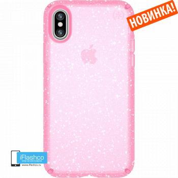 Чехол Speck Presidio Clear + Glitter BELLA PINK WITH GOLD GLITTER для iPhone X/Xs
