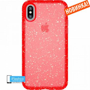 Чехол Speck Presidio Clear + Glitter FIREWORKS RED WITH GOLD GLITTER/FIREWORKS RED для iPhone X/Xs