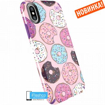 Чехол Speck Presidio для iPhone X/Xs DONUTWORRY PINK GLOSSY/HELIOTROPE PURPLE
