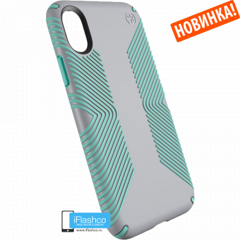 Чехол Speck Presidio Grip для iPhone X/Xs DOLPHIN GREY/ALOE GREEN