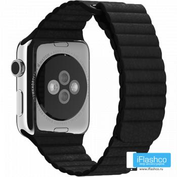 Кожаный ремешок Apple Leather Loop Black для Apple Watch 42 - 44 мм черный