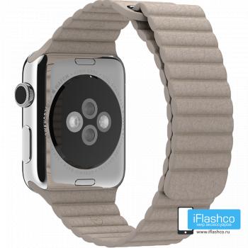 Кожаный ремешок Apple Leather Loop Smoke Gray для Apple Watch 42 - 44 мм серый