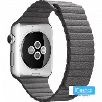 Кожаный ремешок Apple Leather Loop Stone для Apple Watch 42 - 44 мм темно-серый