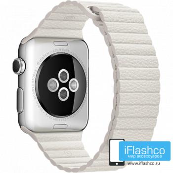 Кожаный ремешок Apple Leather Loop White для Apple Watch 42 - 44 мм белый
