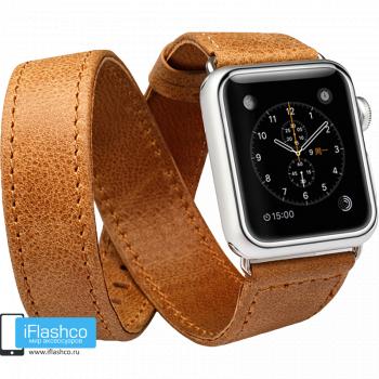 Кожаный ремешок двойной Jisoncase Genuine Leather Brown для Apple Watch 38 - 40mm коричневый (с крепежом)