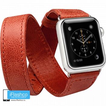 Кожаный ремешок двойной Jisoncase Genuine Leather Red для Apple Watch 38 - 40mm красный (с крепежом)
