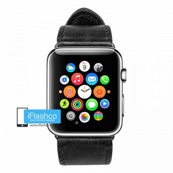 Кожаный ремешок Jisoncase Genuine для Apple Watch 38 - 40mm черный (с крепежом)
